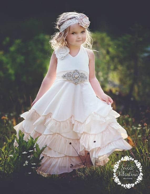 Champagne Boho Flower Girl Dress
