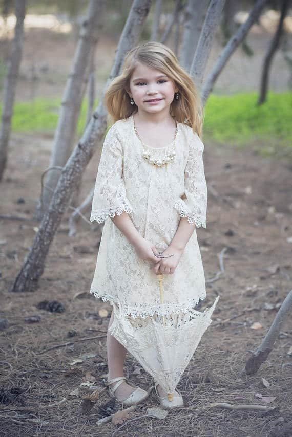 Vintage Lace Rustic Flower Girl Dress