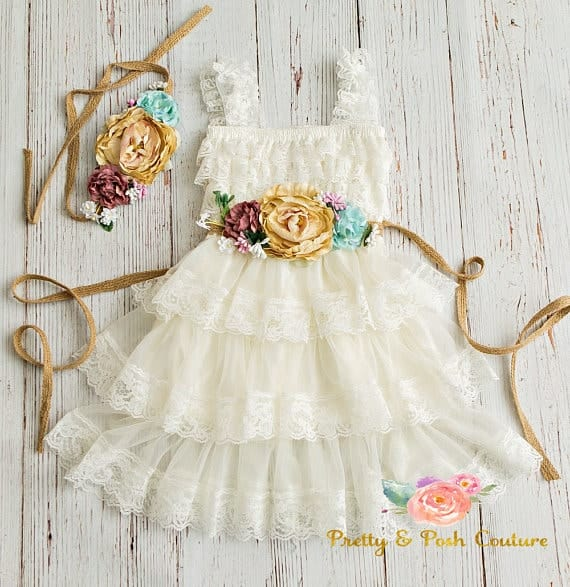 Lace Flower Girl Rustic Dress
