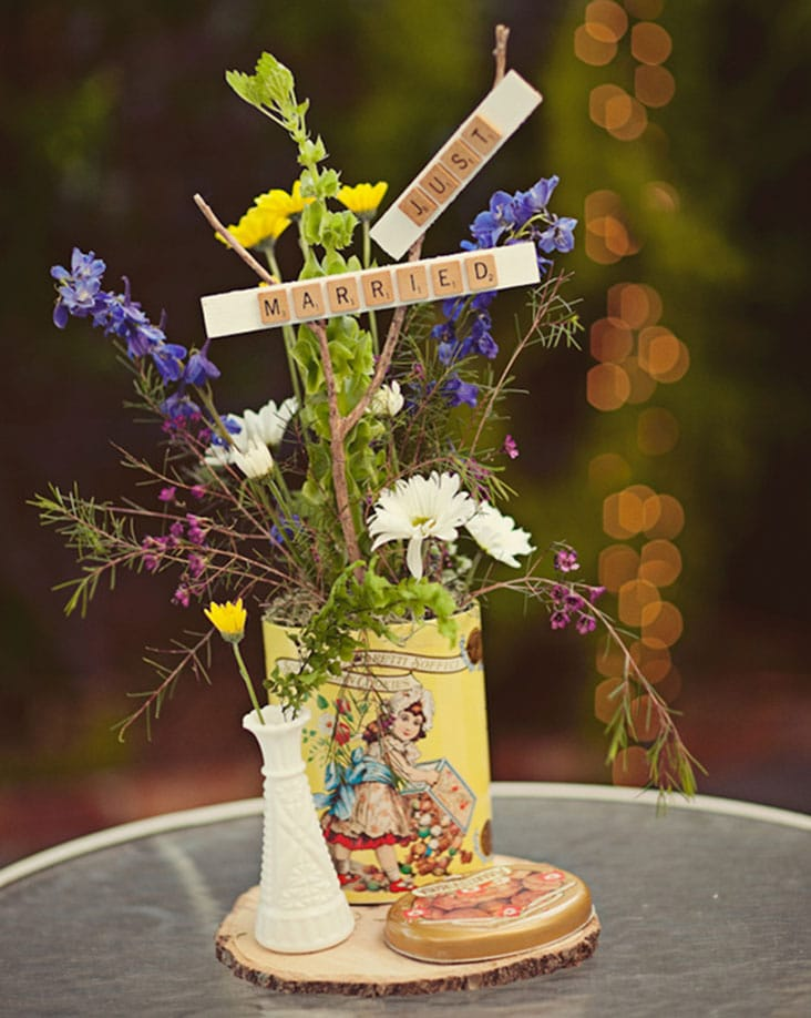 Rustic Wedding Centerpiece Vintage Tins
