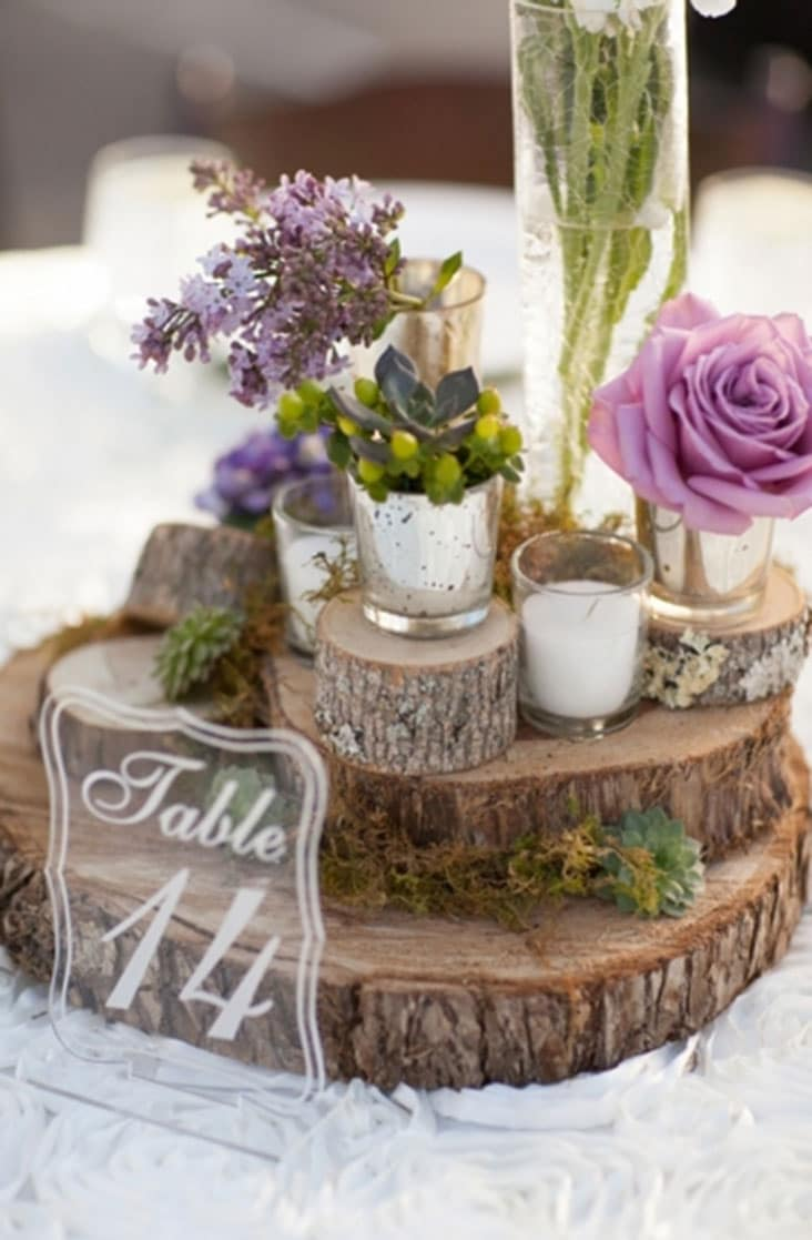 Rustic Wedding Centerpiece Wood Slices