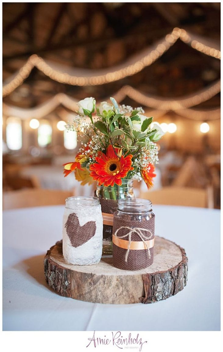 Rustic Wedding Centerpiece Wood slice and jars