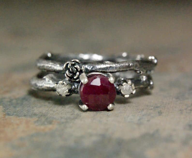 Rustic Ruby Engagement Ring