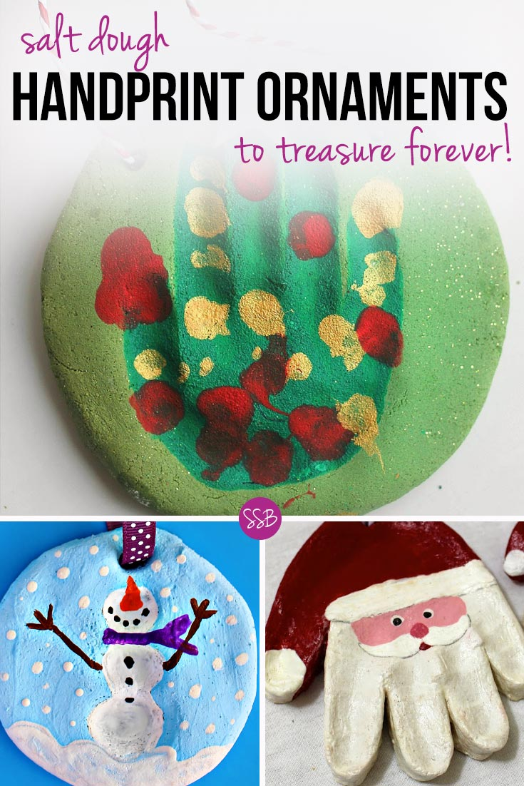 Kid's Handprint Christmas Crafts: Use an easy Salt Dough recipe to make some festive ornament keepsakes to hang from your tree or give as gifts!