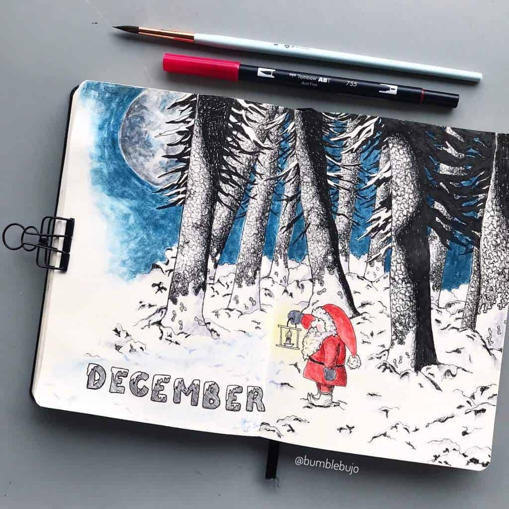 Santa Claus Bullet Journal Cover Page