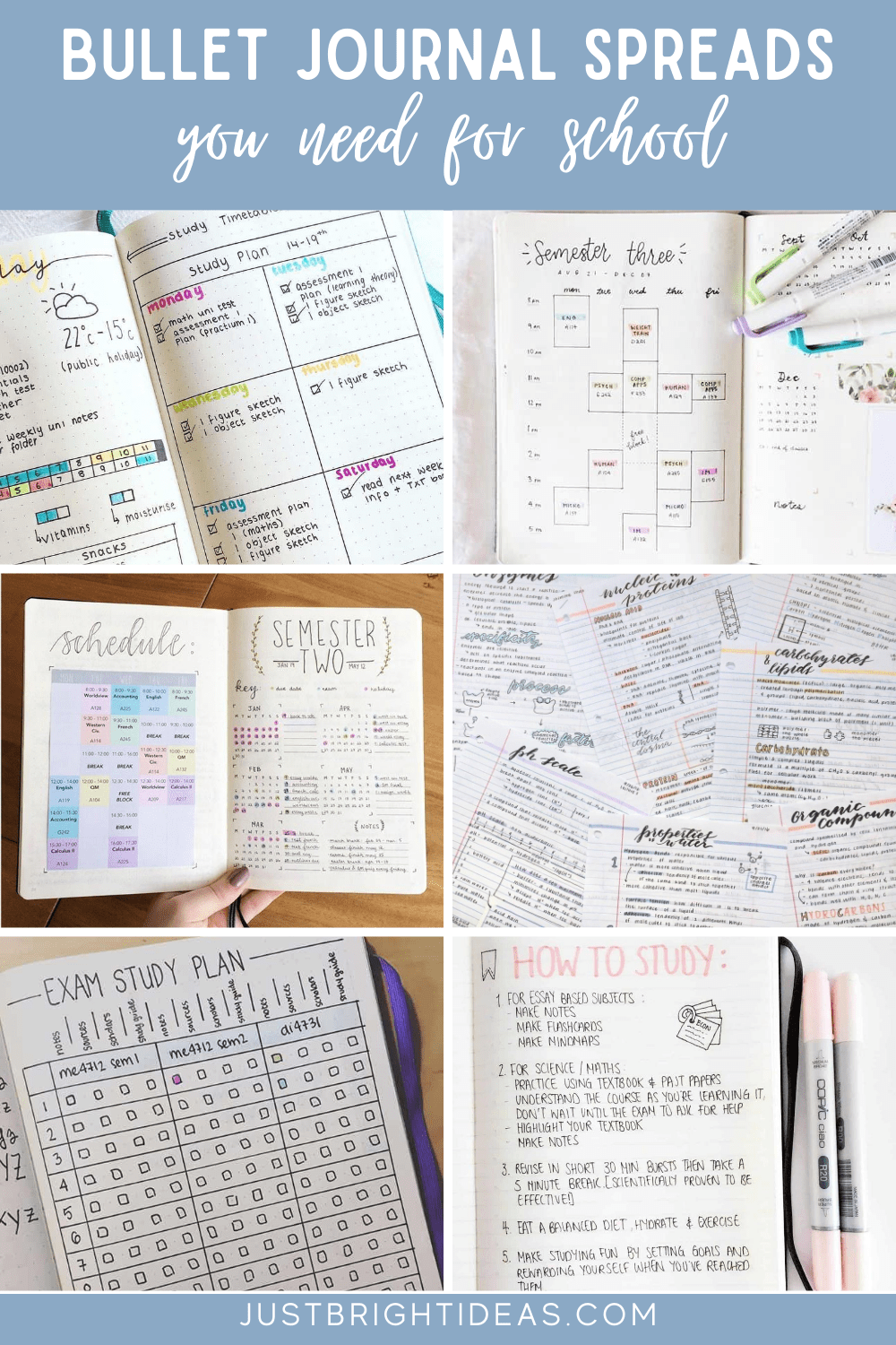 Creative School Bullet Journal Layouts {to help you stay on top of your study game!}