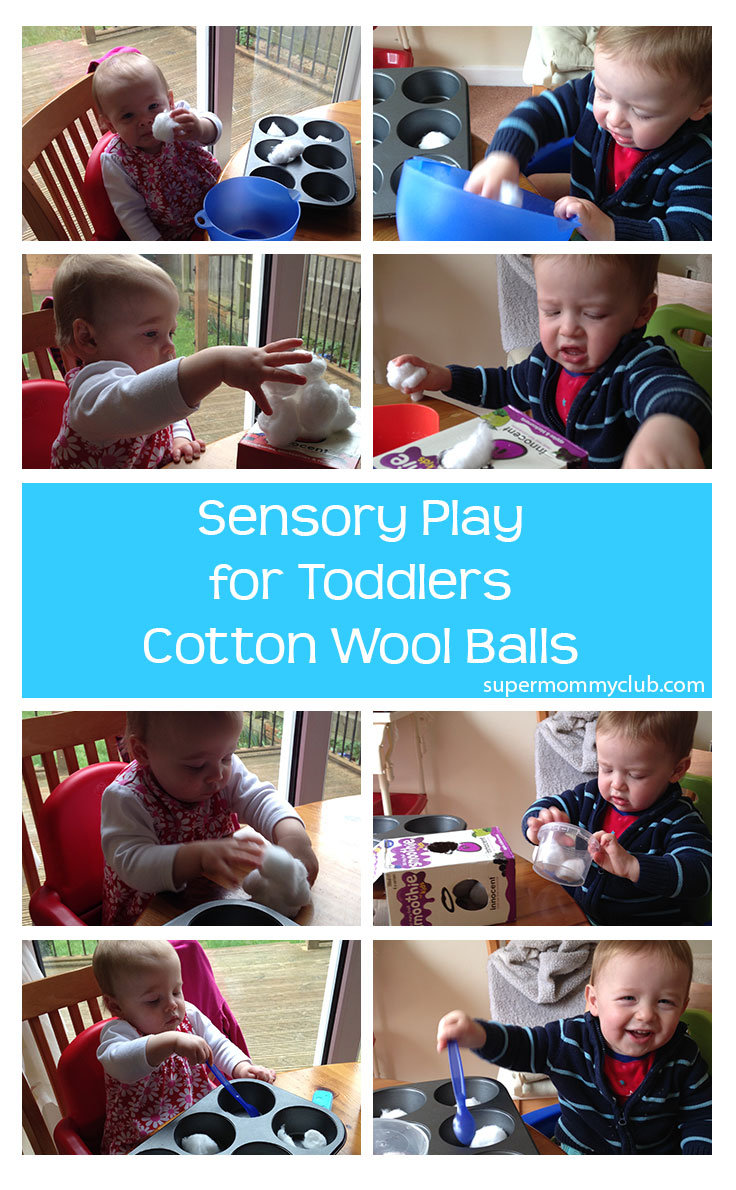 Sensory Play for Toddlers: Cotton Wool Balls - Pin it for later