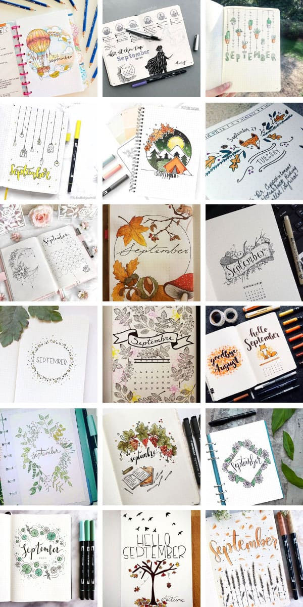 You'll be inspired by these September bullet journal cover page ideas for sure! #bulletjournal #bujo