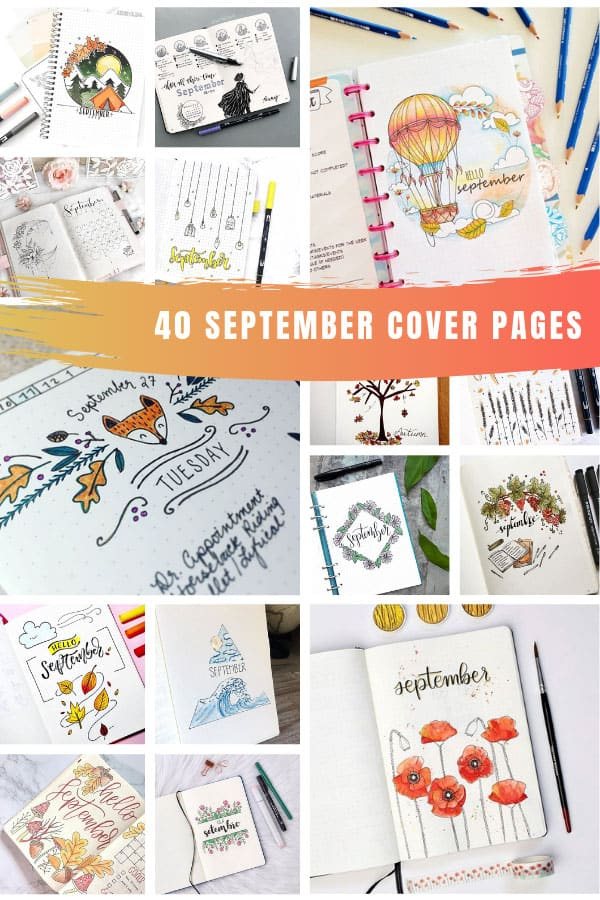 Oh my! SO many creative bullet journal cover page ideas for September to inspire you! #bulletjournal