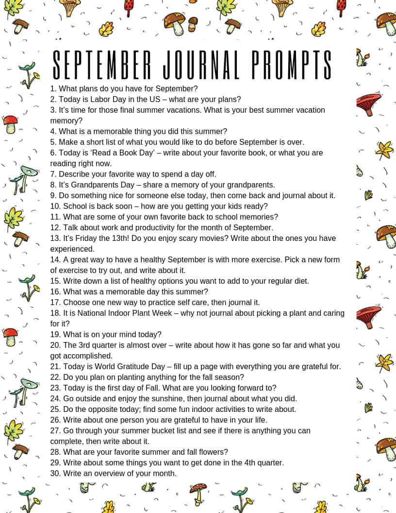 Download this September journaling prompts printable and stick it in your BUJO for summer writing inspiration! #bulletjournal #journal #journalprompts