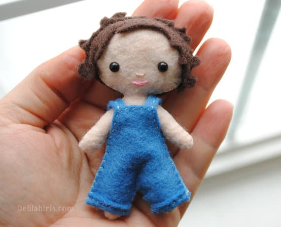 Sewing pattern for a pocket sized boy doll