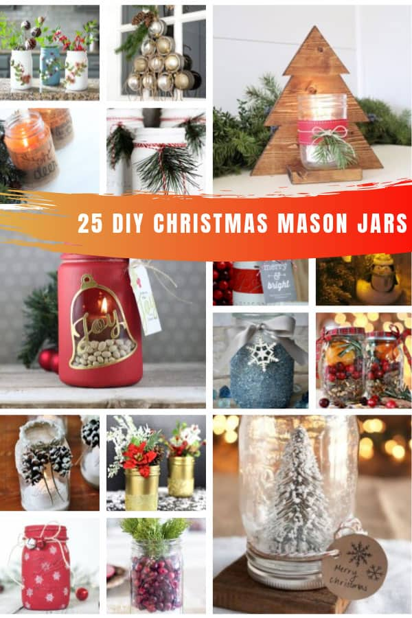 So many simple Christmas DIY mason jar ideas that will look fabulous as Holiday decor or make thoughtful and unique gifts! #christmas #masonjar #diy #crafts