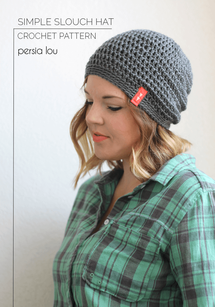 Simple Slouch Crochet hat pattern Persia Lou