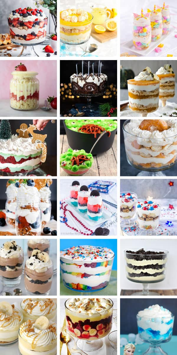 These simple trifle recipes are perfect for your next potluck - the crowd will love them! #dessert #potluck #recipes