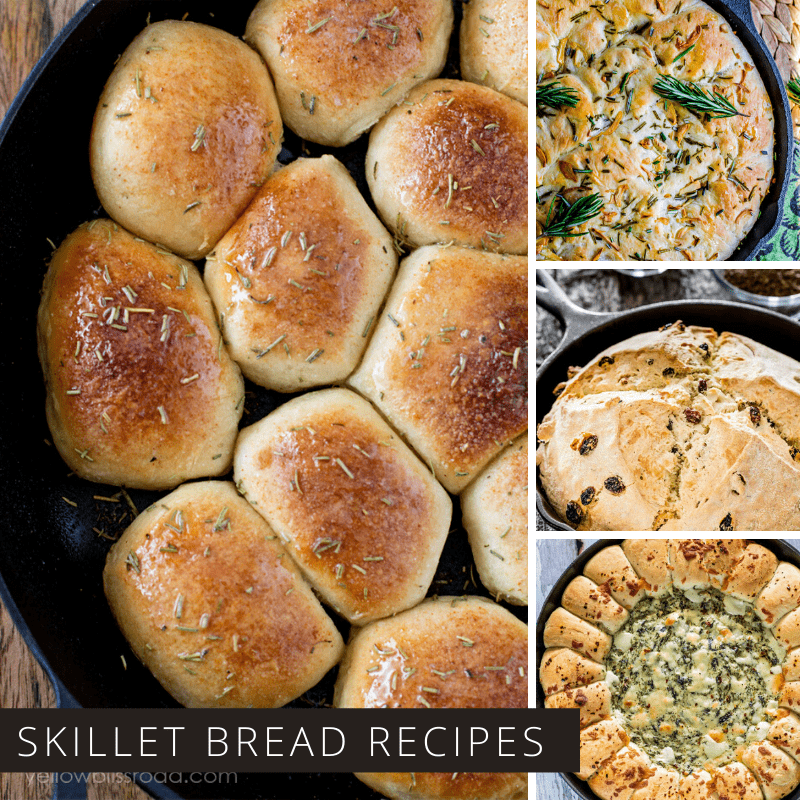 Yum! So many cast iron skillet bread recipes and no kneading required!