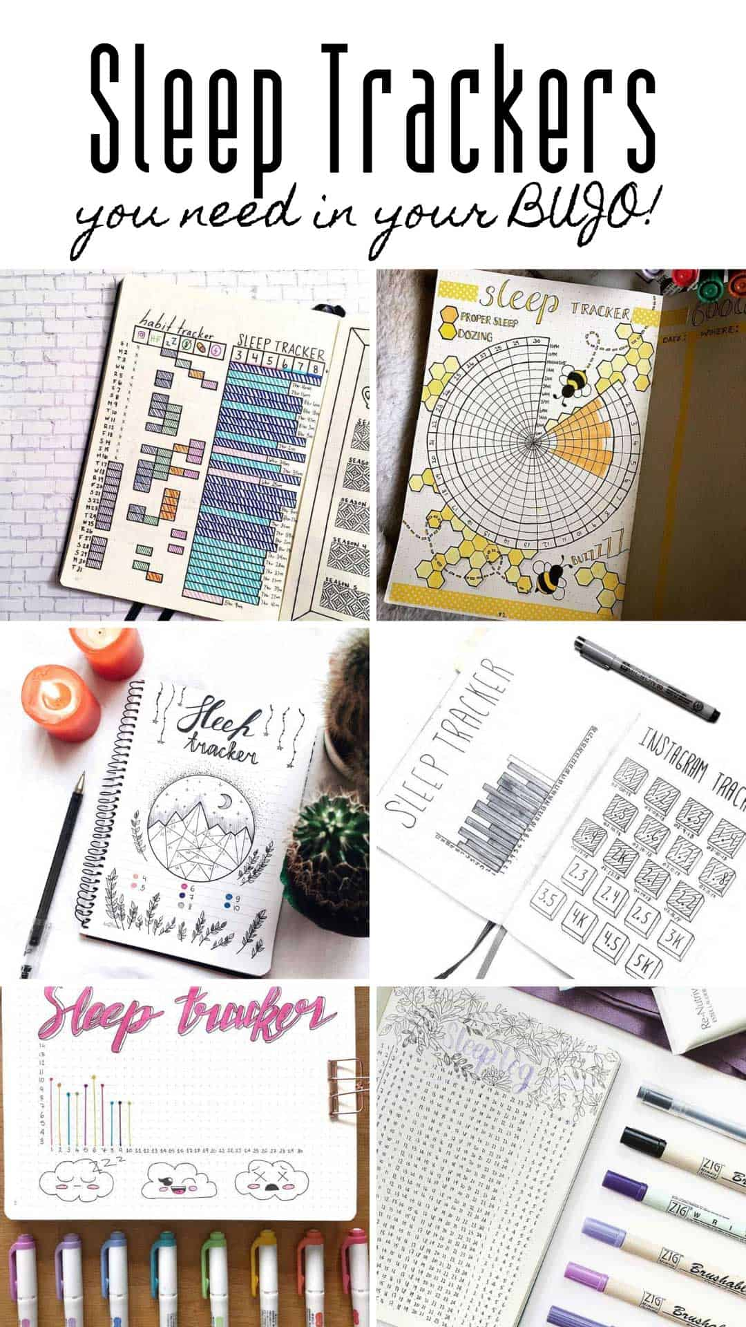 Use a sleep tracker in your bullet journal as part of your self care routine to ensure you are getting enough rest. Here are some great ideas for 2019 sleep logs! #bulletjournal