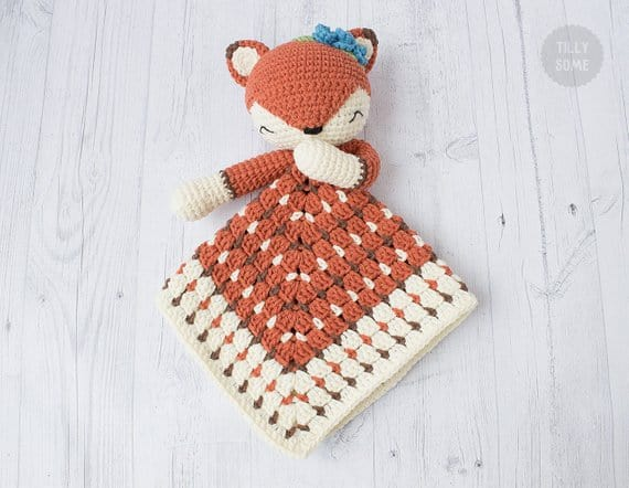 Sleepy Fox Lovey Blanket Crochet Pattern