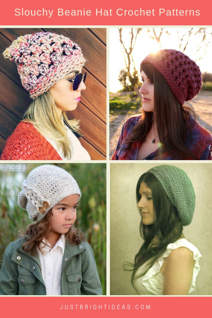 Slouchy Beanie Hat Crochet Patterns