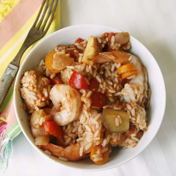 Easy Slow Cooker Chicken and Shrimp Jambalaya