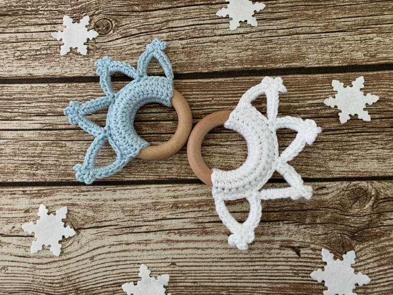 Crochet Snowflake Teething Ring