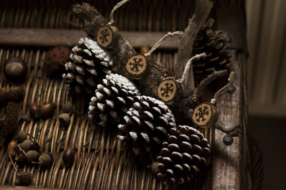Snowflake Pinecone Farmhouse Ornaments