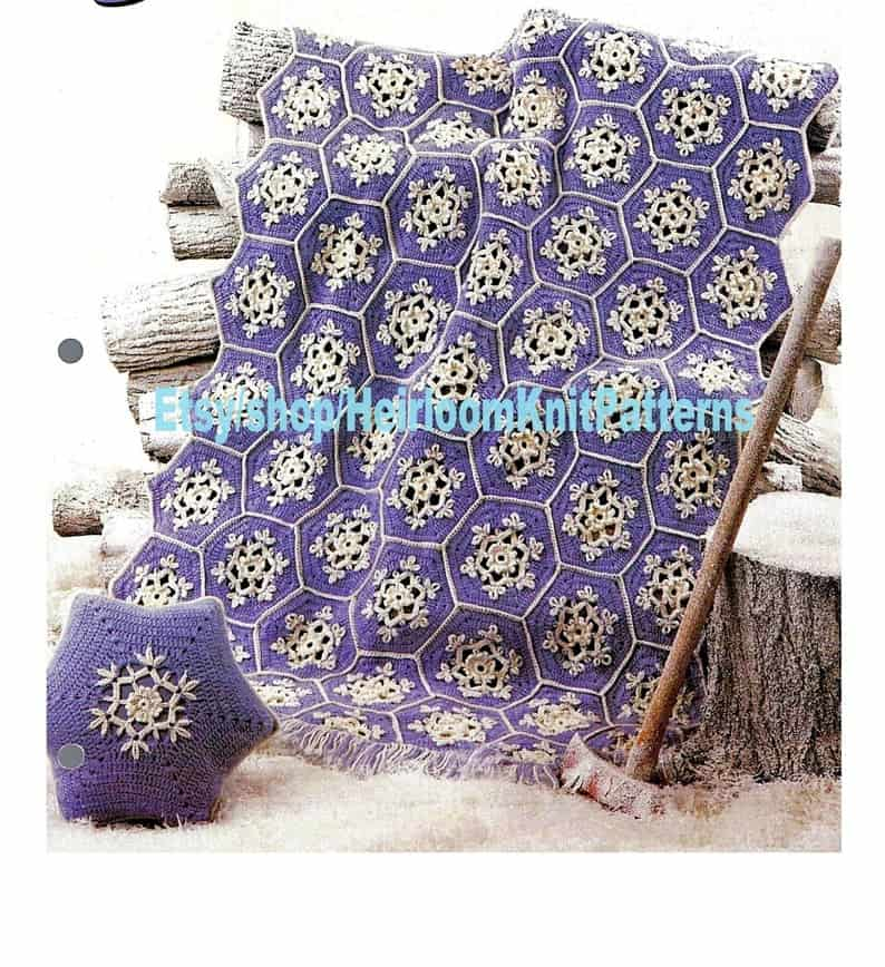 Snowflake Afghan and Pillow Crochet Pattern