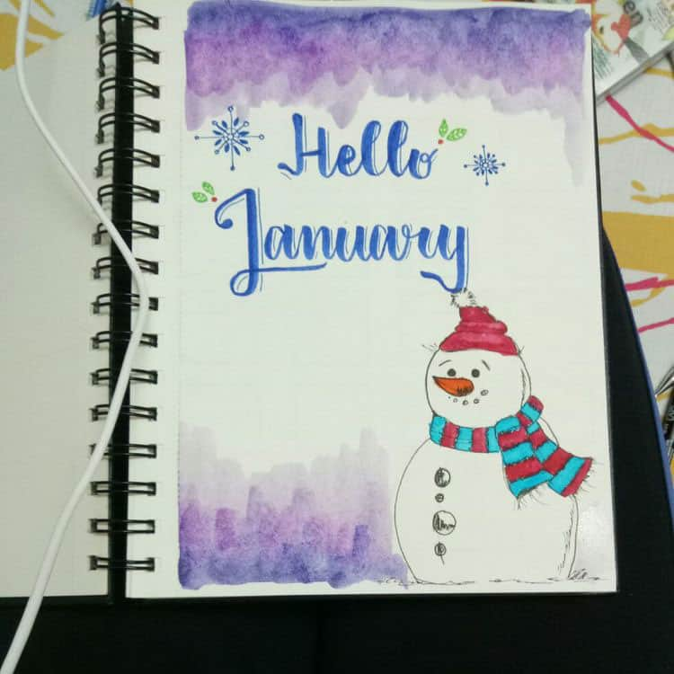 Snowman bullet journal cover page