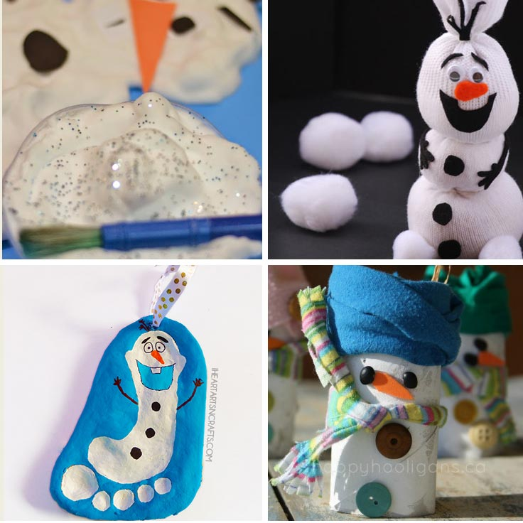 If your little one is in love with Frozen they'll love these easy snowman crafts for kids!