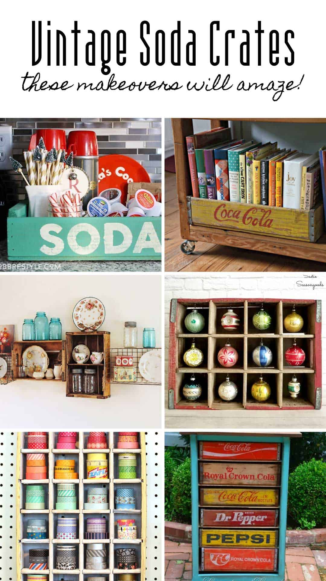 Who knew there would be so many soda crate DIY projects you could do with a repurposed Coca Cola crate! I can't wait to make a fairy garden and some tie storage for my husband's closet!