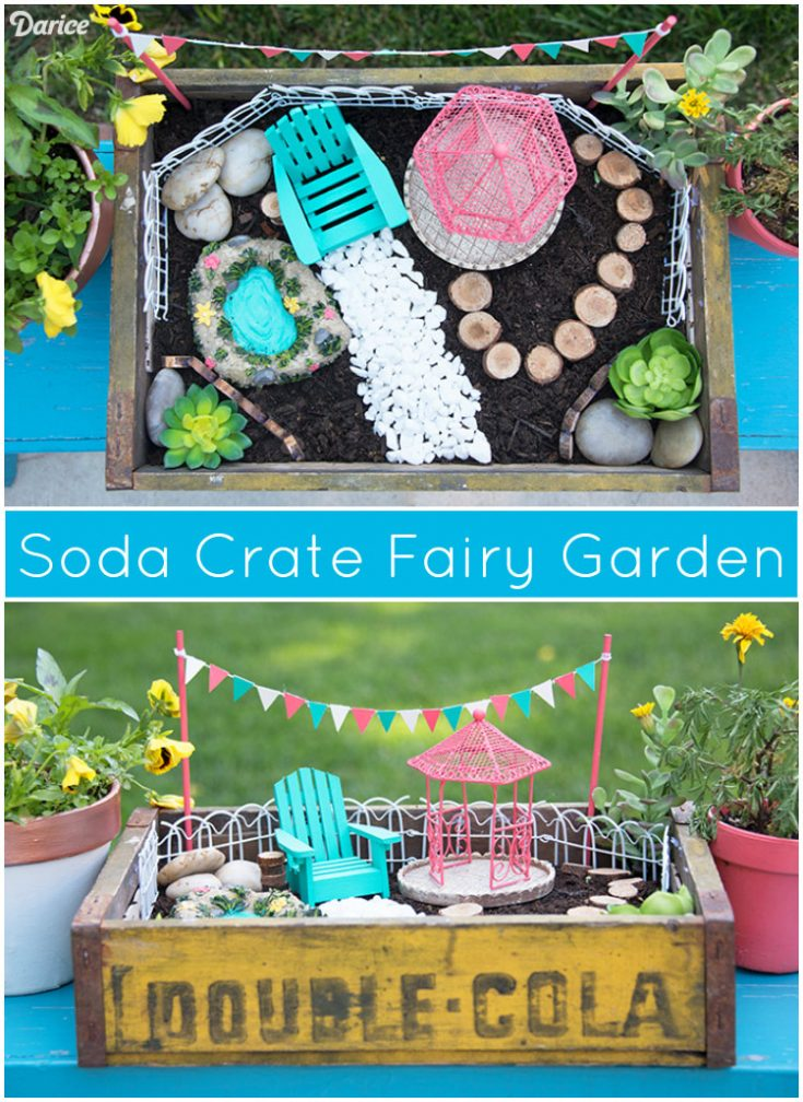 Homemade Fairy Garden Ideas: Vintage Soda Crate Fairy Garden - Darice