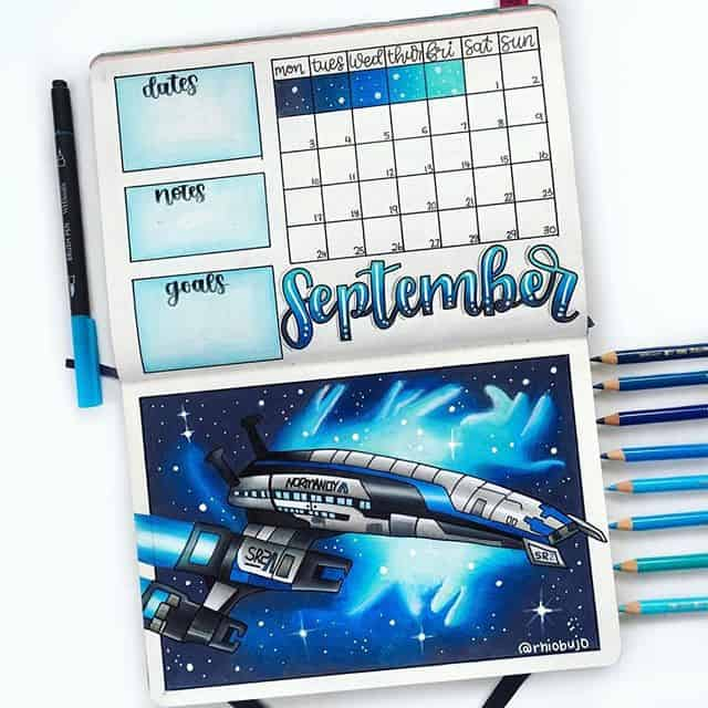 Space theme monthly log bullet journal