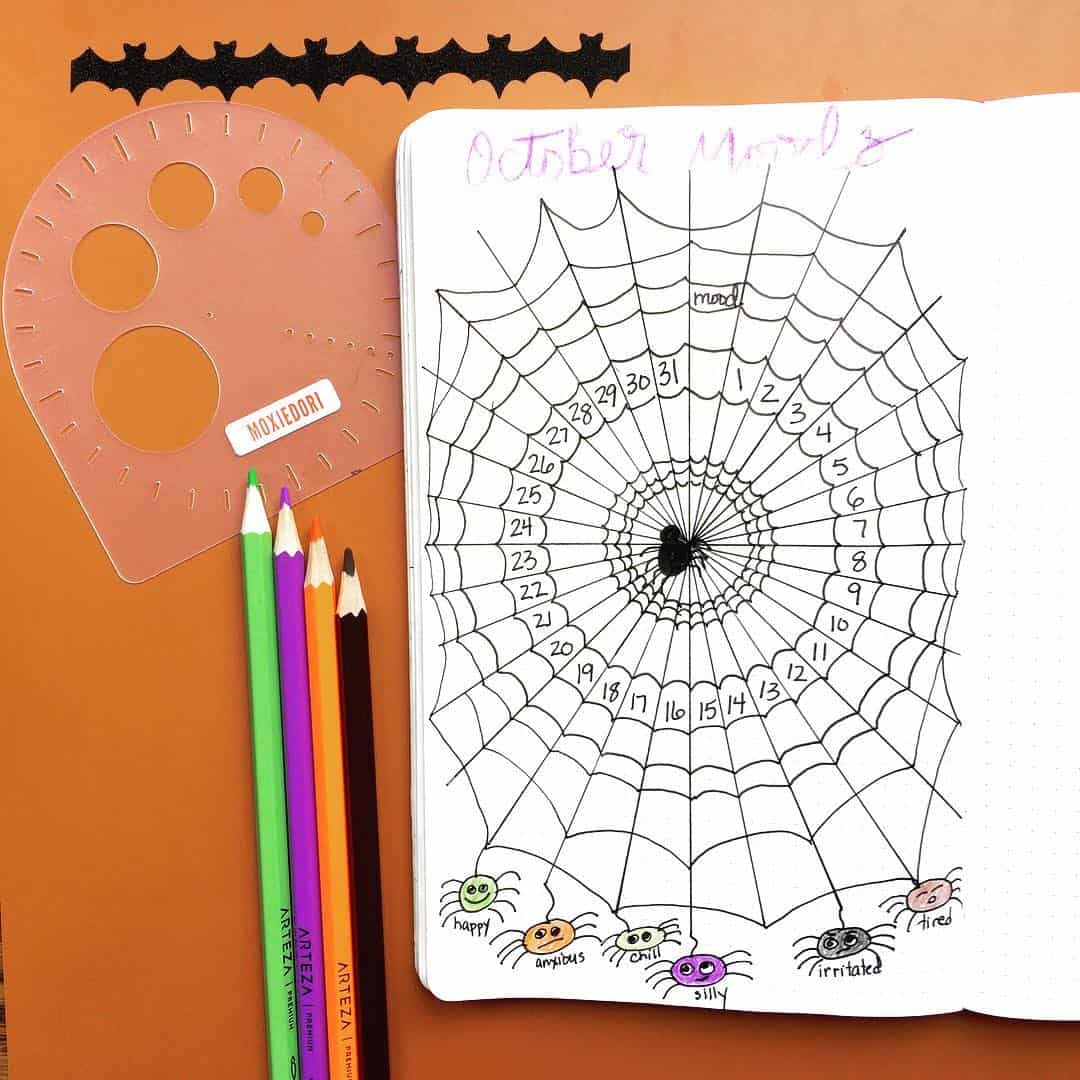 Spider web Halloween Mood Tracker