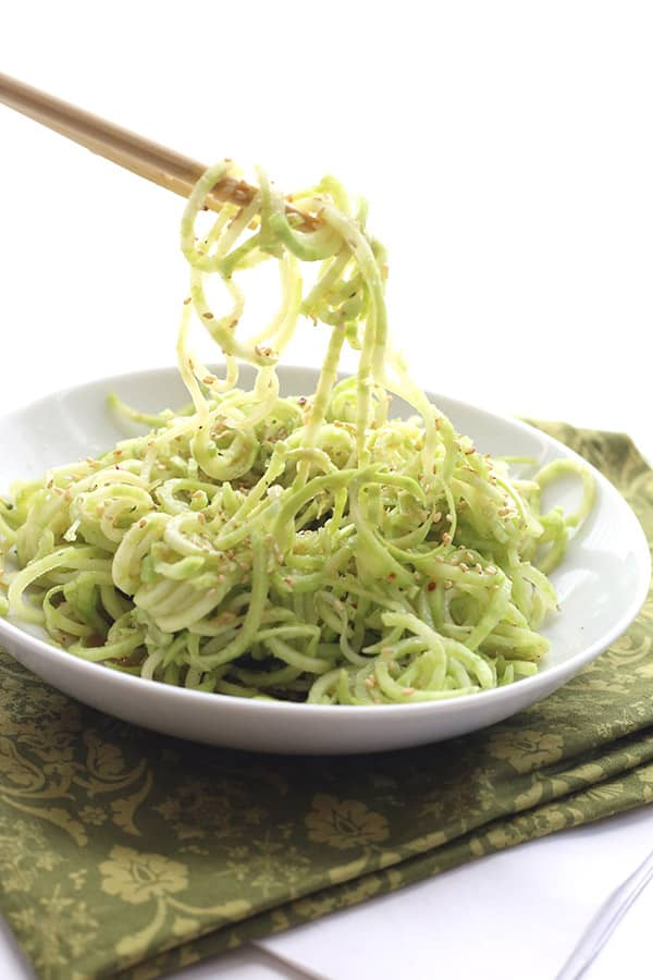 Broccoli Stem Noodles with Sesame Ginger Dressing