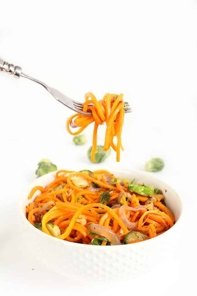 Butternut Squash Noodles with Shredded Brussels Sprouts