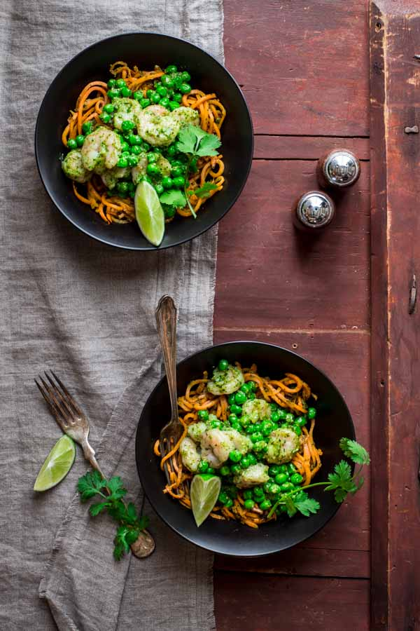 Sweet Potato Noodles with Shrimp and Cilantro Pesto