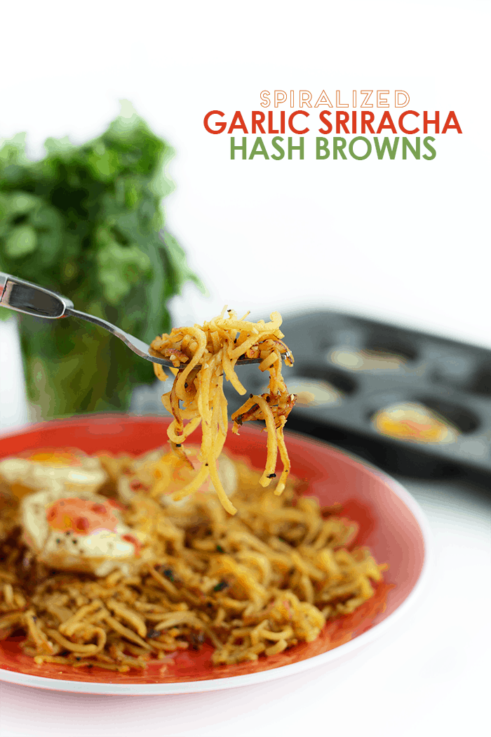 Spiralized Garlic Sriracha Hash Browns with Baked Eggs