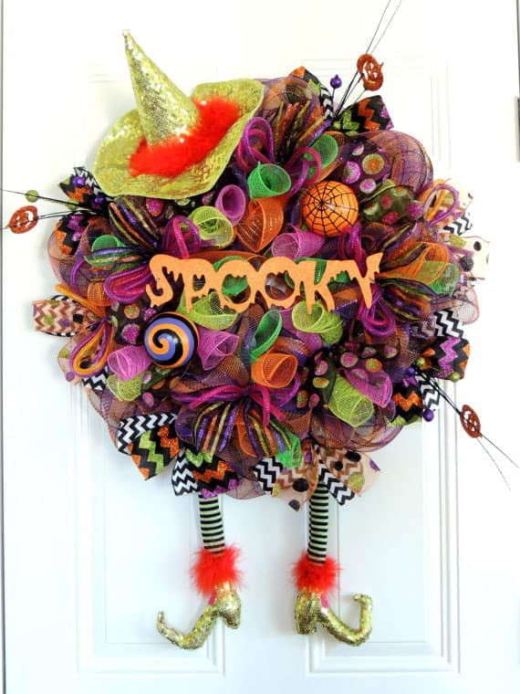 Spooky Wicked Witch Wreath with Sparkle Deco Mesh
