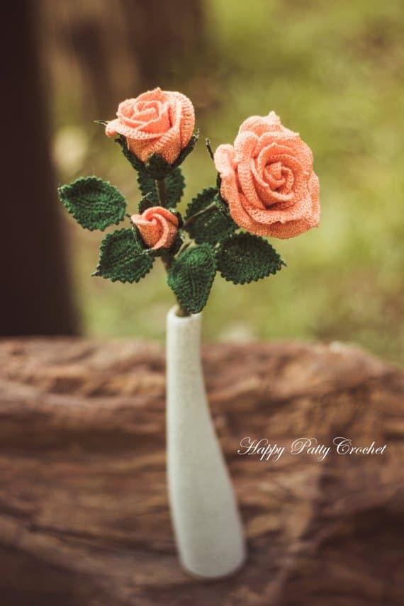 Wedding Bouquet Spray Rose Crochet Pattern