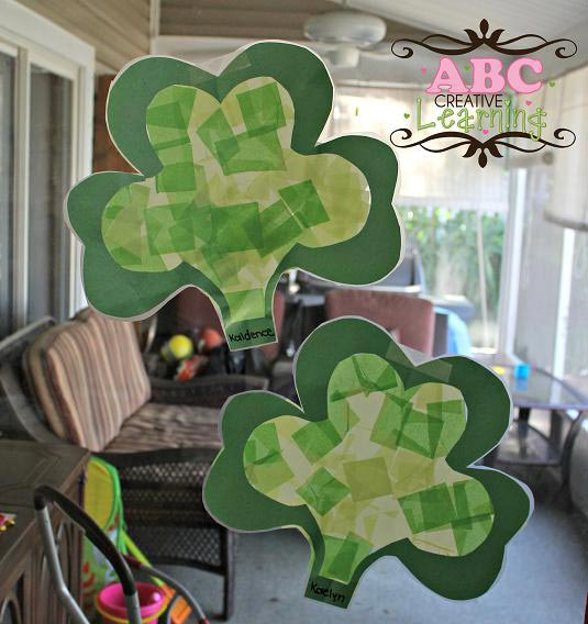 Shamrock Suncatchers Kids Craft - ABC Creative Learning