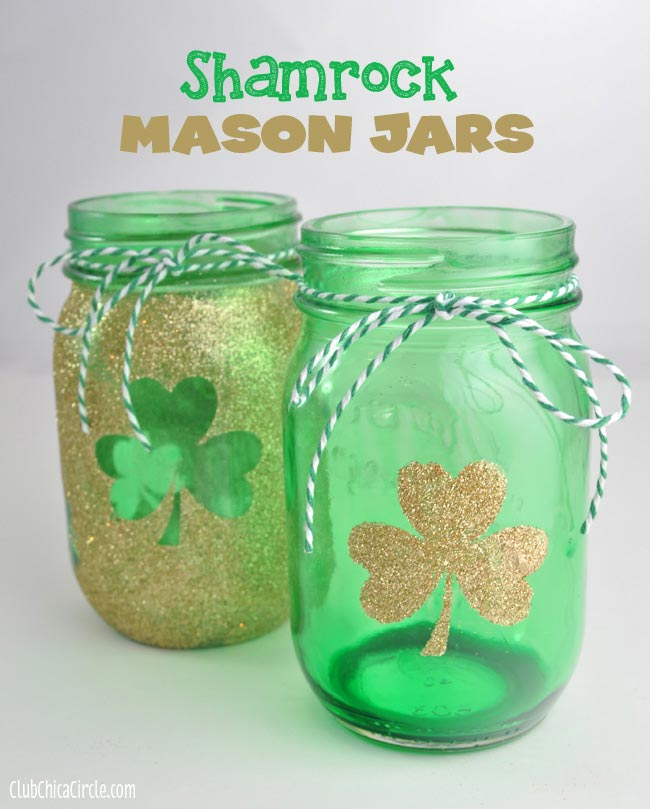 Hand Tinted Shamrock Mason Jar Luminary Craft Idea - Club Chica Circle