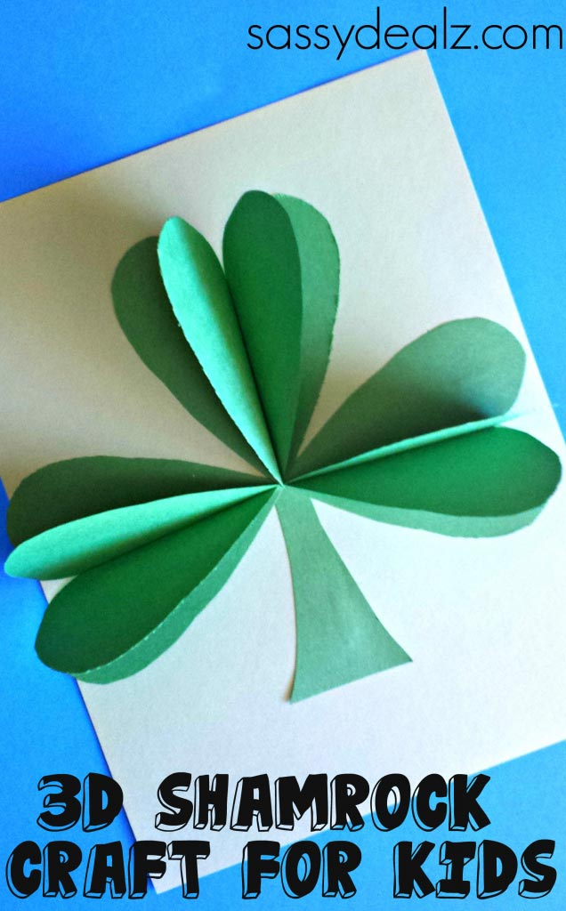 3D Paper Shamrock Craft For St. Patrick's Day - Crafty Morning