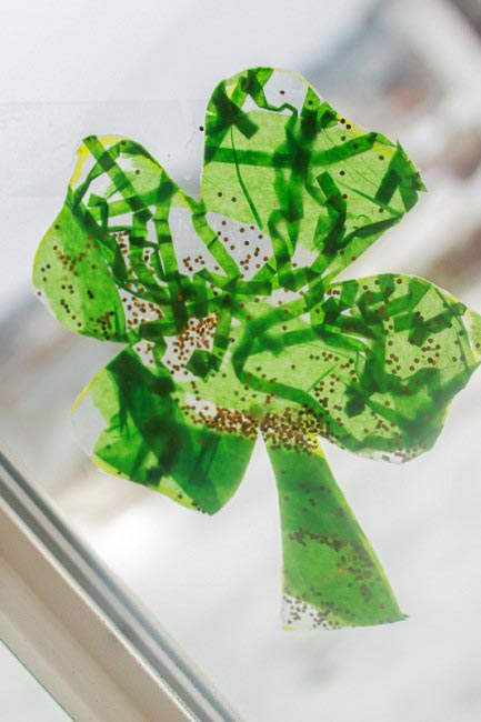 Shamrock Window Craft for St Patrick's Day - Hands On As We Grow