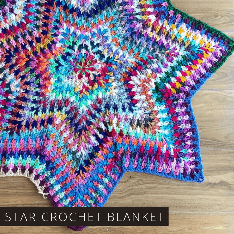 If you're looking for a crochet pattern to use up your leftover yarn you can't go wrong with this gorgeous stabby granny star blanket. It's so fun to see how all of the colors come together!