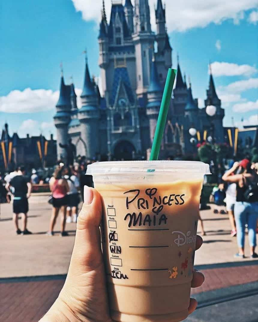 Enjoy your coffee fix in front of Cinderella's Castle