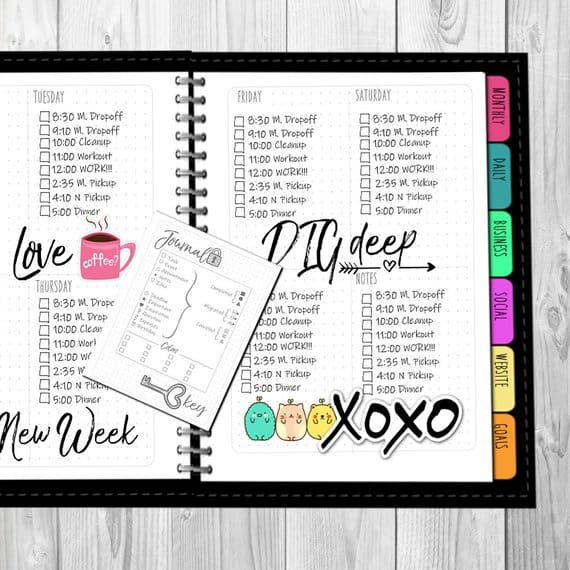 This bullet journal printable starter kit will save you time - you just add stickers and colors