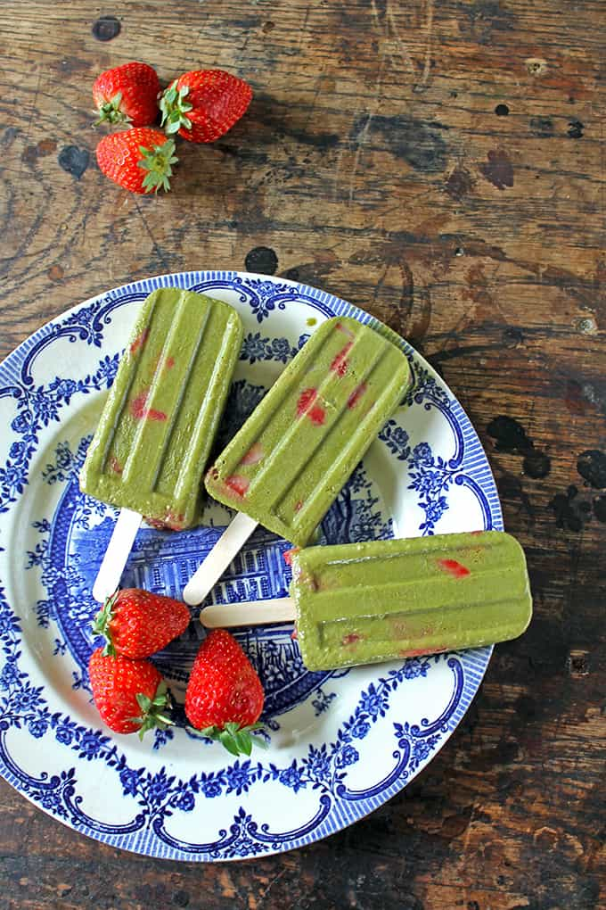 Strawberry Matcha Popsicles