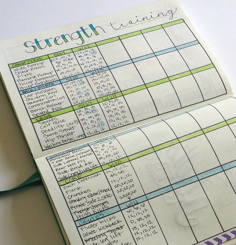 Bullet Journal Strength Training