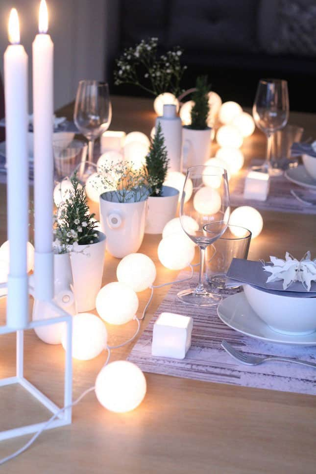 String Globe Lights as Table Decorations