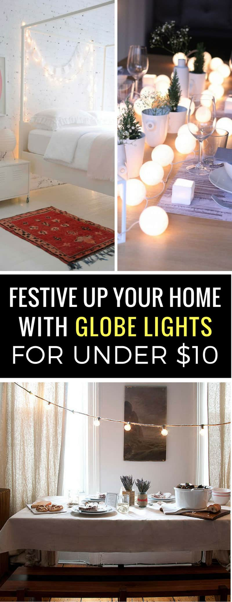 Loving these different ways to use string globe lights to make my home look pretty - and they're cheap too!