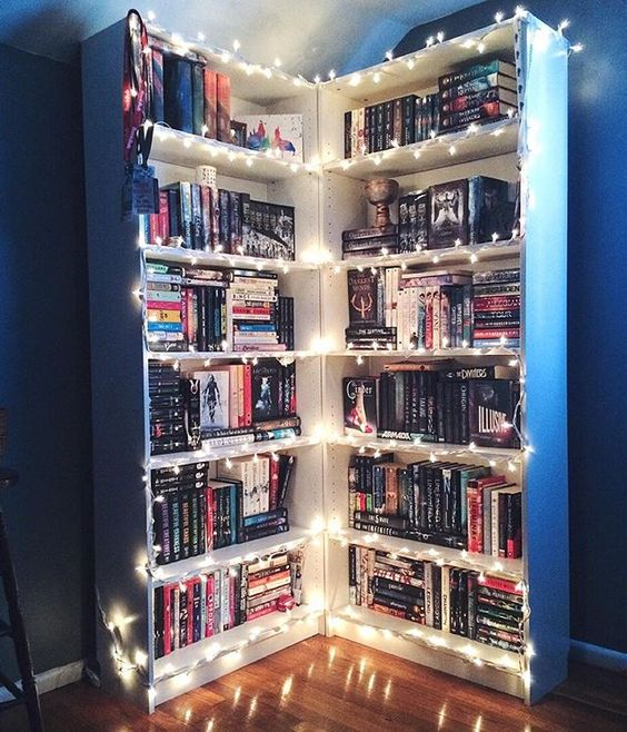Decorate Your Bookshelves with String Lights for a Festive Feel